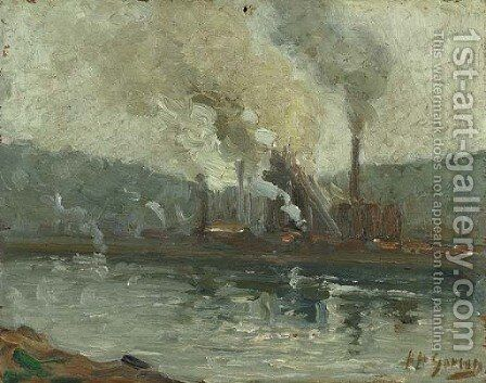 Factories Along the River two works by Aaron Harry Gorson - Reproduction Oil Painting