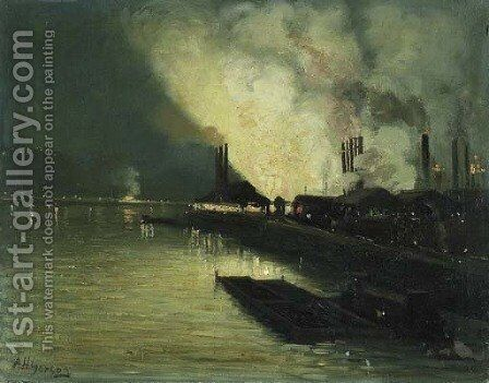 Factories at Night by Aaron Harry Gorson - Reproduction Oil Painting