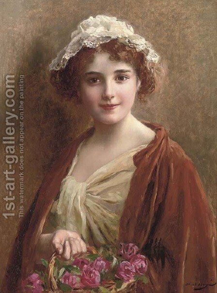 The flower girl by Abel Dominique Boye - Reproduction Oil Painting