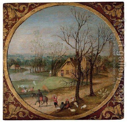 Autumn A village scene with peasants and livestock by a road, cottages and a windmill beyond, in a feigned roundel by Abel Grimmer - Reproduction Oil Painting