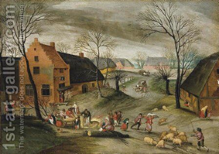 A wooded winter village landscape with peasants slaughtering pigs by Abel Grimmer - Reproduction Oil Painting