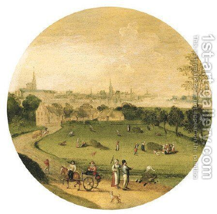 Summer an extensive landscape with a view of Antwerp beyond by Abel Grimmer - Reproduction Oil Painting