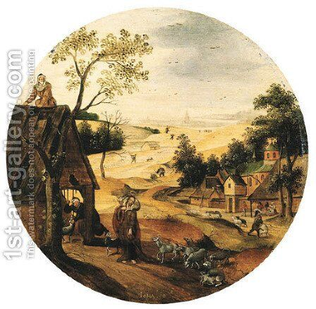 The Month of June A landscape with Christ The Good Shepherd by Abel Grimmer - Reproduction Oil Painting