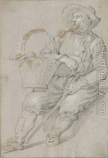 A seated peasant with a basket by Abraham Bloemaert - Reproduction Oil Painting