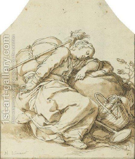 A young girl sleeping at the side of a road by Abraham Bloemaert - Reproduction Oil Painting