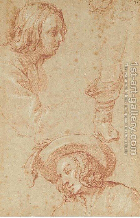 Studies of a boy, half-length, in profile to the right, and the same in a plumed hat looking down to the left, and a study of a right leg by Abraham Bloemaert - Reproduction Oil Painting