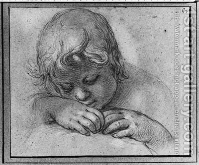 The Head of a Putto looking down, his head on his hands by Abraham Bloemaert - Reproduction Oil Painting