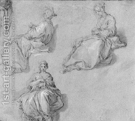 Three Studies of a seated young Girl by Abraham Bloemaert - Reproduction Oil Painting