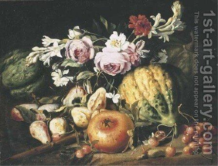 Melons, figs, cherries, a pomegranate and mixed flowers in a clearing by Abraham Brueghel - Reproduction Oil Painting
