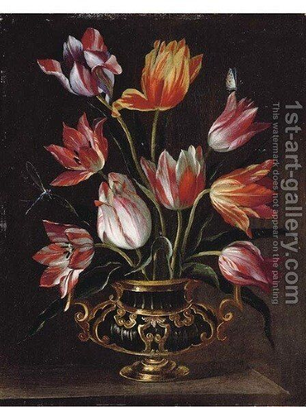 Parrot tulips in an urn with a dragonfly and a butterfly on a stone ledge by Abraham Brueghel - Reproduction Oil Painting