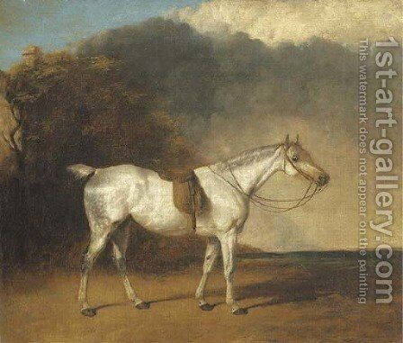 A saddled grey hunter in a landscape by Abraham Cooper - Reproduction Oil Painting