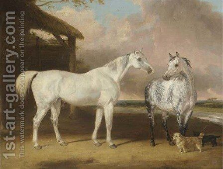 Hunters And Terriers By A Barn, In A River Landscape by Abraham Cooper - Reproduction Oil Painting