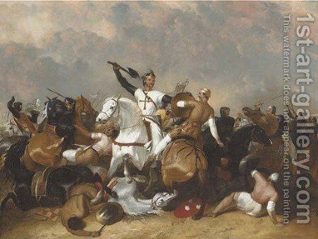 Richard I at the Battle of Ascolan by Abraham Cooper - Reproduction Oil Painting