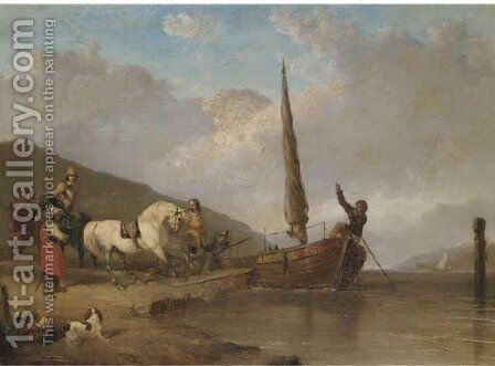 The ferry crossing by Abraham Cooper - Reproduction Oil Painting