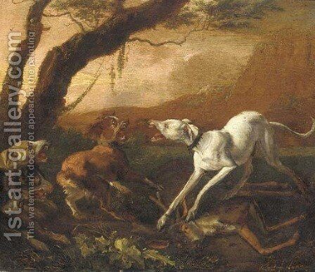 Dogs fighting ovar a dead stag in a landscape by Abraham Danielsz. Hondius - Reproduction Oil Painting