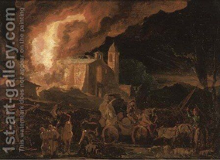 Soldiers sacking a burning monastry by Abraham Danielsz. Hondius - Reproduction Oil Painting