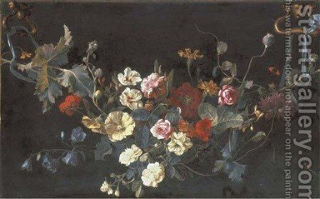 A garland of roses by Abraham De Lust - Reproduction Oil Painting