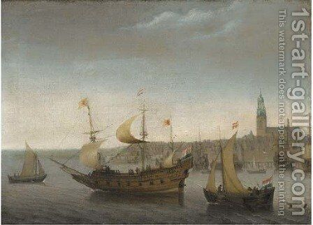 A view of Vlissingen with shipping by Abraham de Verwer - Reproduction Oil Painting