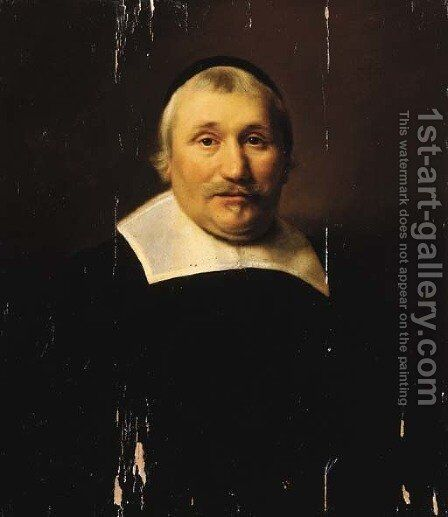 Portrait of a parson, half length, wearing black costume with lace collar and black cap by Abraham de Vries - Reproduction Oil Painting