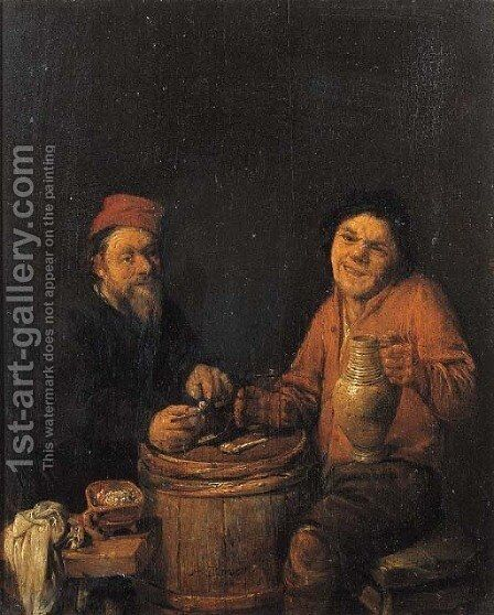 Boors drinking and smoking at a barrel by Abraham Diepraam - Reproduction Oil Painting