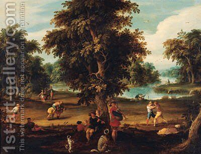 Peasants making music and disporting in a wooded river landscape by Abraham Govaerts - Reproduction Oil Painting