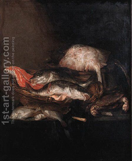 A ray on a barrel, a salmon-steak, a pike-perch and a coalfish in a basket with flounders, a knife and a crab on a draped table by Abraham Hendrickz Van Beyeren - Reproduction Oil Painting