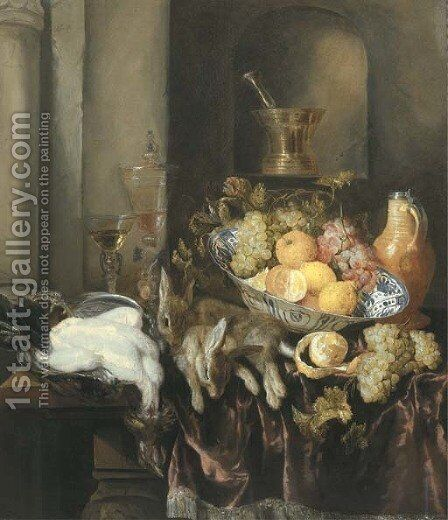 Grapes, lemons, and oranges in a Wan-li 'kraak' porselein bowl, with a plucked chicken and two hares, and two facon-de-Venise glasses by Abraham Hendrickz Van Beyeren - Reproduction Oil Painting