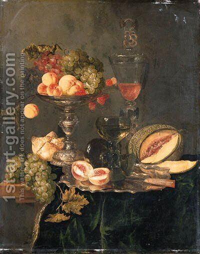 Nectarines, peaches, grapes and raspberries on a silver tazza, two roemers and a sliced peach with a knife on a silver plate, a melon, a bread roll by Abraham Hendrickz Van Beyeren - Reproduction Oil Painting
