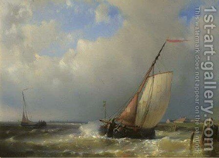 A barge in a stiff breeze by Abraham Hulk Jun. - Reproduction Oil Painting