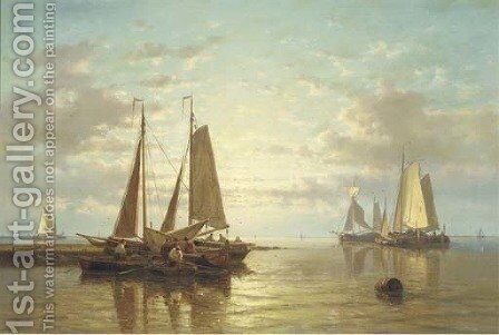 A calm sailing vessels in an estuary at dusk by Abraham Hulk Jun. - Reproduction Oil Painting