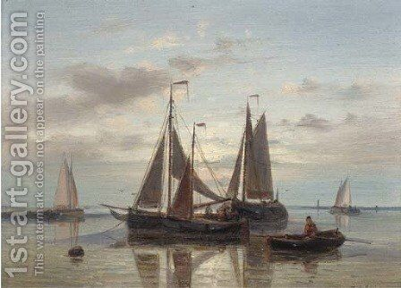 Fishing barges at dusk by Abraham Hulk Jun. - Reproduction Oil Painting