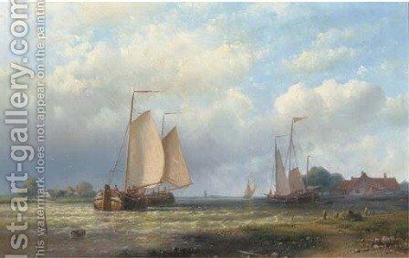 Activities on the river in a brisk wind by Abraham Hulk Jun. - Reproduction Oil Painting