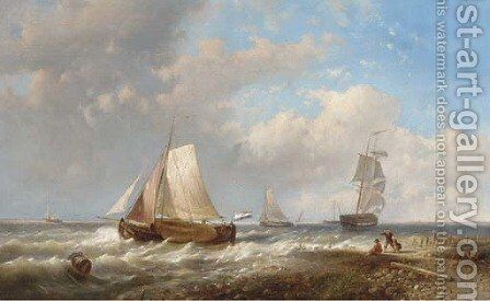 An onshore breeze off the Dutch coast by Abraham Hulk Jun. - Reproduction Oil Painting