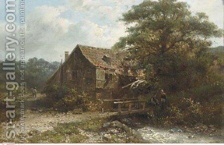 Chatting by the watermill by Abraham Hulk Jun. - Reproduction Oil Painting