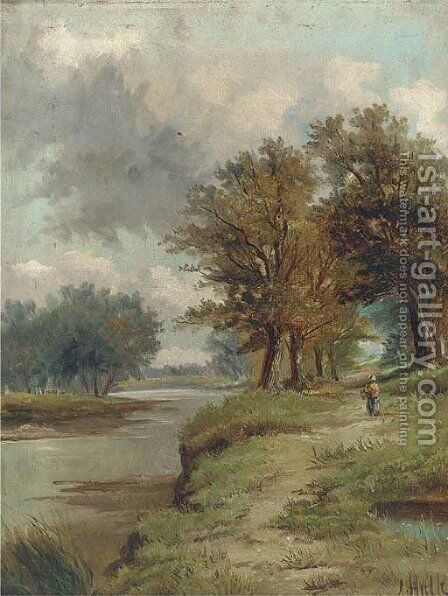 A country walk along a river bank by Abraham Hulk Jun. - Reproduction Oil Painting