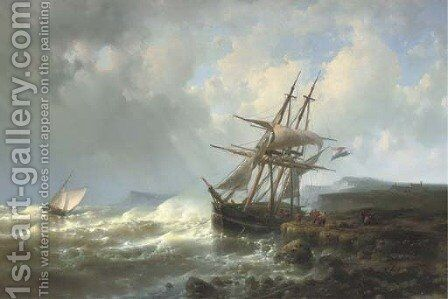 Mooring the three-master in a stiff breeze by Abraham Hulk Jun. - Reproduction Oil Painting