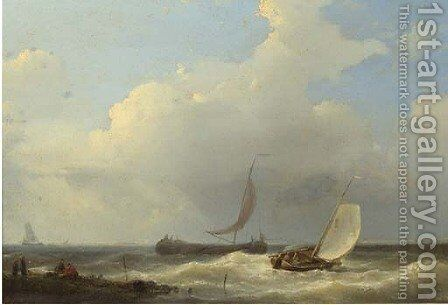 Sailingvessels in a stiff breeze of the coast by Abraham Hulk Jun. - Reproduction Oil Painting