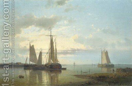 Shipping in a calm estuary 2 by Abraham Hulk Snr - Reproduction Oil Painting