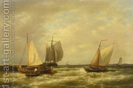 Shipping by a jetty in a breeze by Abraham Hulk Jun. - Reproduction Oil Painting