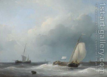 Shipping in a stiff breeze by Abraham Hulk Jun. - Reproduction Oil Painting