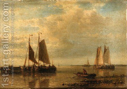 Fishing boats in an estuary by Abraham Hulk Snr - Reproduction Oil Painting