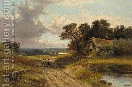 View of Albury Heath, Surrey by Abraham Hulk Jun. - Reproduction Oil Painting