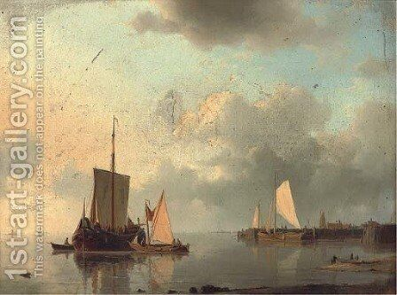 Barges on the estuary in the evening light by Abraham Hulk Snr - Reproduction Oil Painting