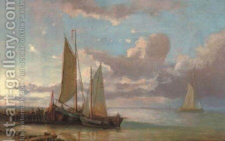 Moored fishing vessels at the end of the day by Abraham Hulk Snr - Reproduction Oil Painting