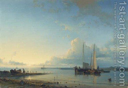 Shipping in a calm 3 by Abraham Hulk Snr - Reproduction Oil Painting