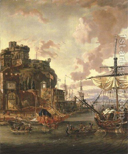 A capriccio of a Mediterranean port with with men-o'-war and figures in rowing boats by Abraham Storck - Reproduction Oil Painting
