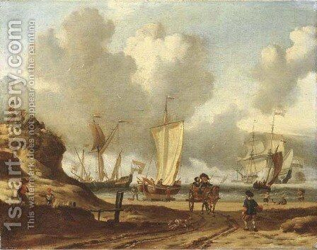 A dune coastal landscape with a couple in a horse-drawn wagon and fishermen on the beach, shipping beyond by Abraham Storck - Reproduction Oil Painting