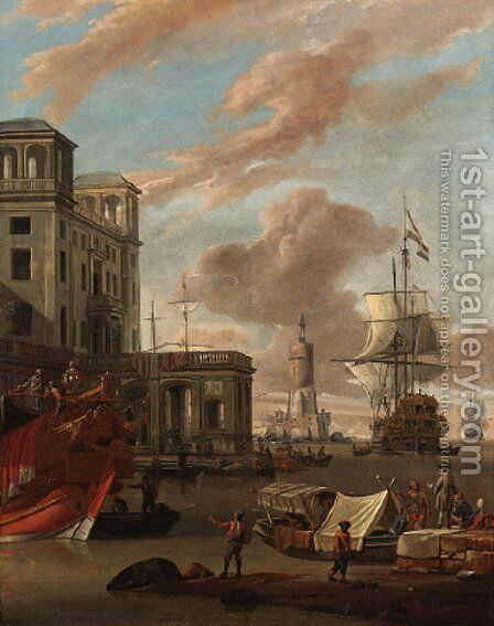 A Mediterranean port with traders by a quay, a princely galley, a Dutch man-o-war and other shipping beyond by Abraham Storck - Reproduction Oil Painting