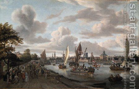 A View of Amsterdam with a trekschuit and smalschepen on the river Buiten-Amstel near the hooge sluis, with elegant figures by Abraham Storck - Reproduction Oil Painting