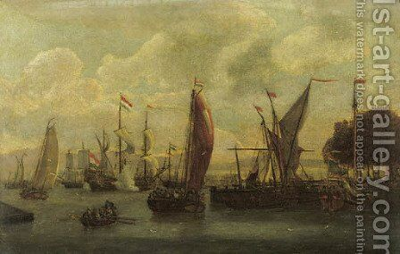 A view of the IJ, Amsterdam with a threemaster firing a salute and a State-yacht moored by a jetty by Abraham Storck - Reproduction Oil Painting